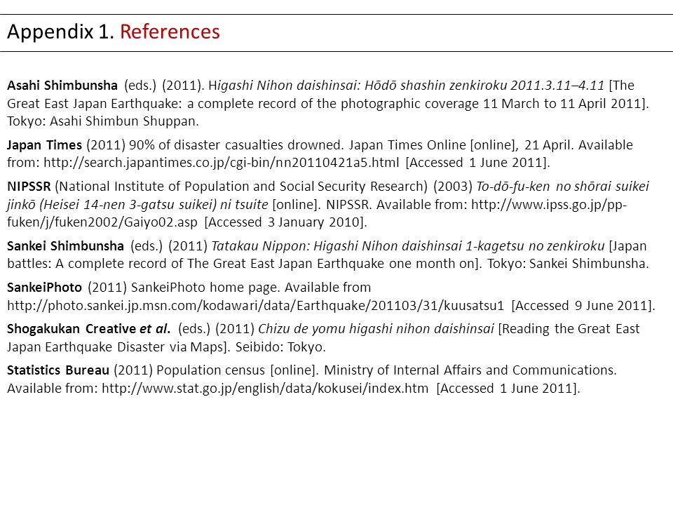 Asahi Shimbunsha (eds.) (2011). Higashi Nihon daishinsai: Hōdō shashin zenkiroku 2011.3.11–4.11 [The Great East Japan Earthquake: a complete record of