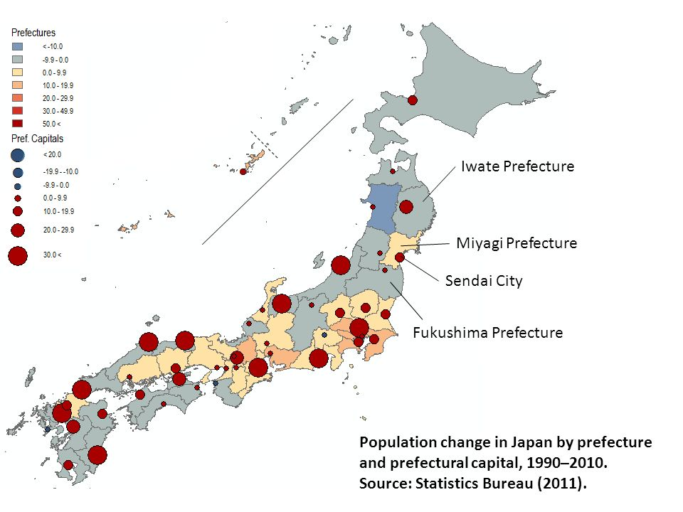 Iwate Prefecture Miyagi Prefecture Fukushima Prefecture Population change in Japan by prefecture and prefectural capital, 1990–2010. Source: Statistic