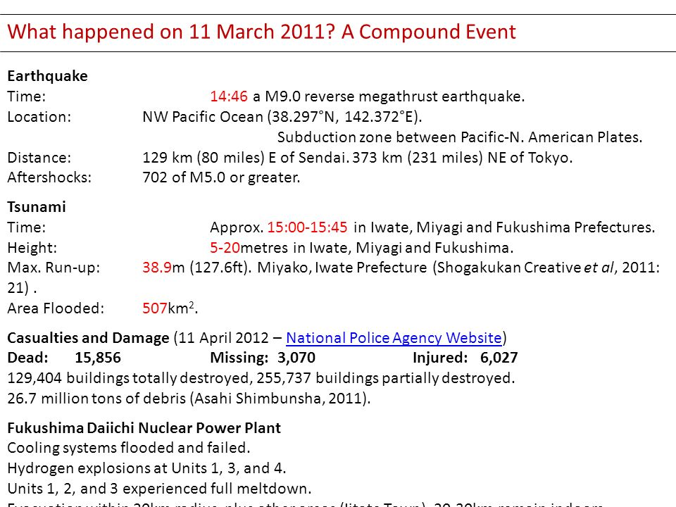 What happened on 11 March 2011? A Compound Event Earthquake Time: 14:46 a M9.0 reverse megathrust earthquake. Location: NW Pacific Ocean (38.297°N, 14