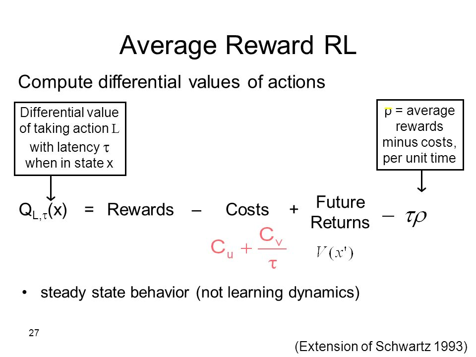 27 Compute differential values of actions Differential value of taking action L with latency when in state x ρ = average rewards minus costs, per unit