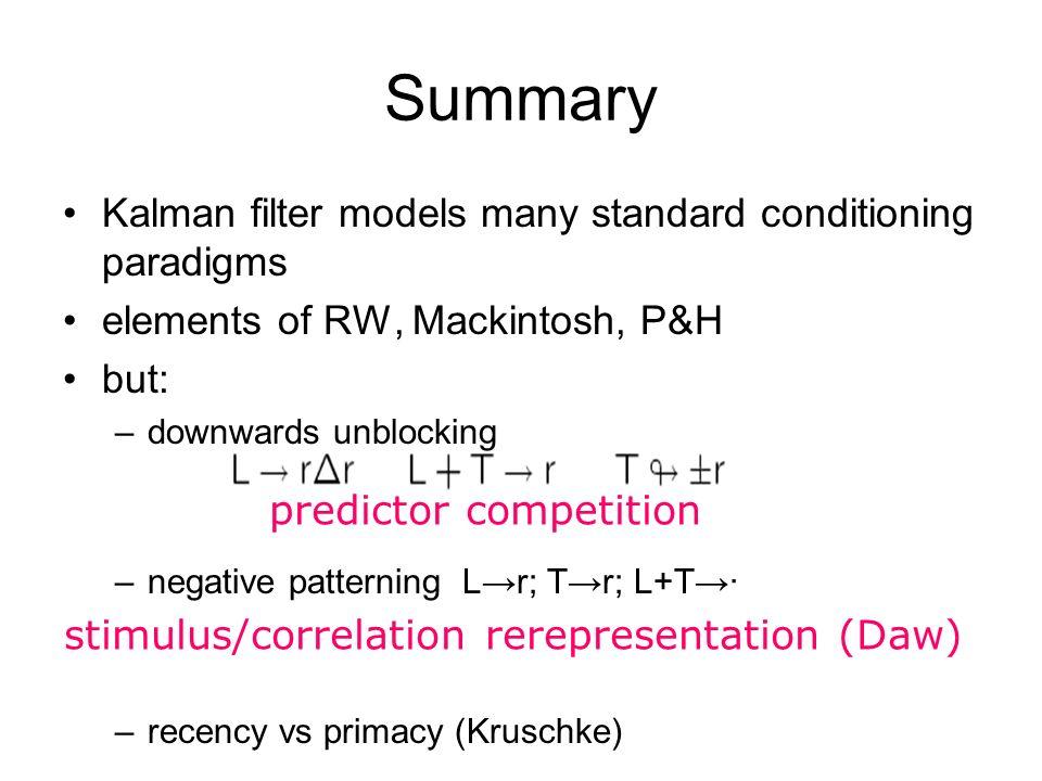 predictor competition Summary stimulus/correlation rerepresentation (Daw) Kalman filter models many standard conditioning paradigms elements of RW, Mackintosh, P&H but: –downwards unblocking –negative patterning L r; T r; L+T · –recency vs primacy (Kruschke)