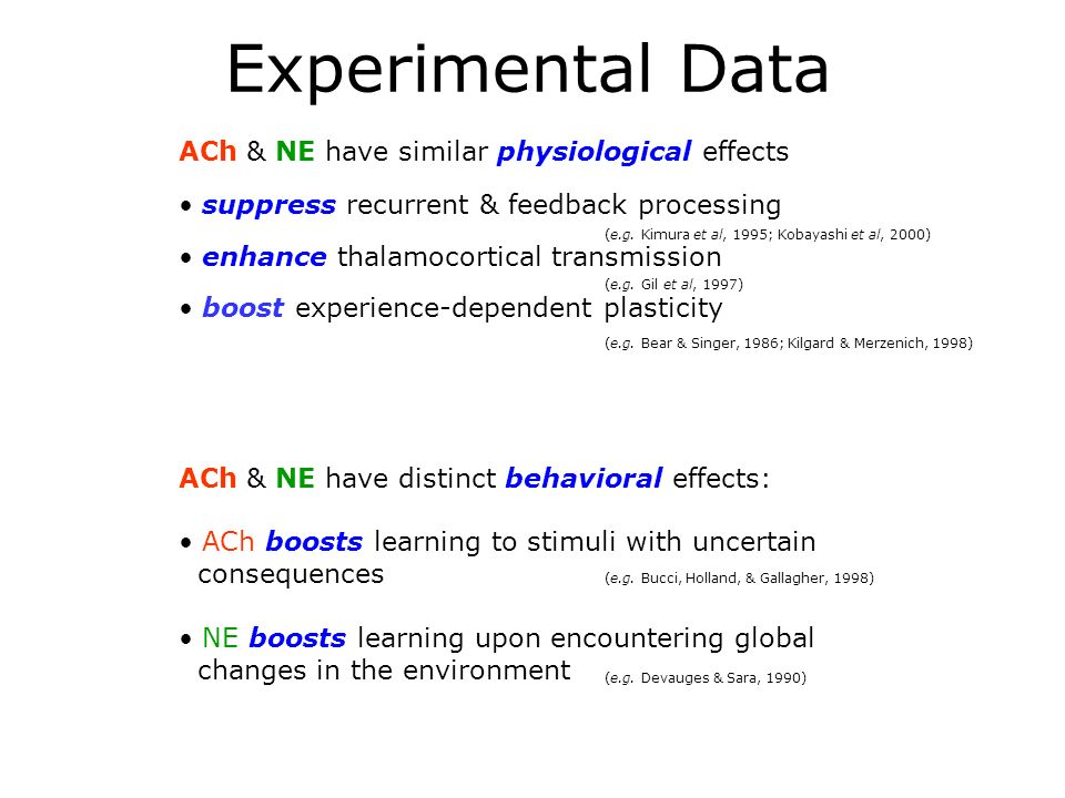 ACh & NE have distinct behavioral effects: ACh boosts learning to stimuli with uncertain consequences NE boosts learning upon encountering global changes in the environment (e.g.