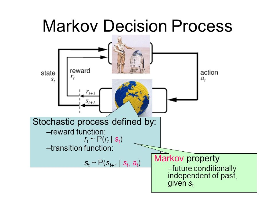 Markov Decision Process Stochastic process defined by: –reward function: r t ~ P(r t | s t ) –transition function: s t ~ P(s t+1 | s t, a t ) Markov property –future conditionally independent of past, given s t