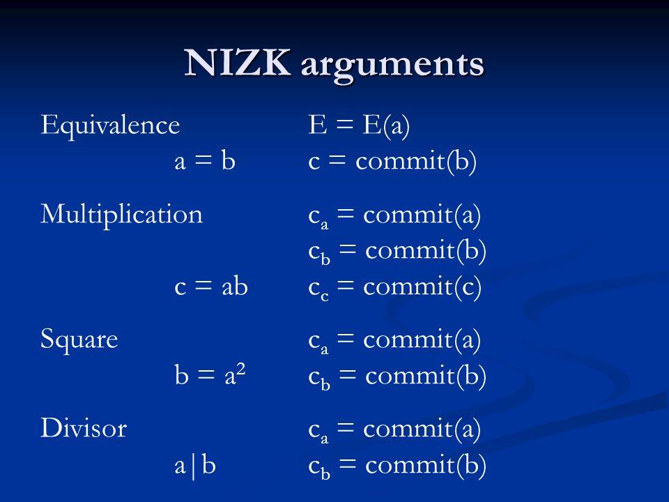 NIZK arguments Equivalence E = E(a) a = bc = commit(b) Multiplicationc a = commit(a) c b = commit(b) c = abc c = commit(c) Squarec a = commit(a) b = a 2 c b = commit(b) Divisorc a = commit(a) a|bc b = commit(b)