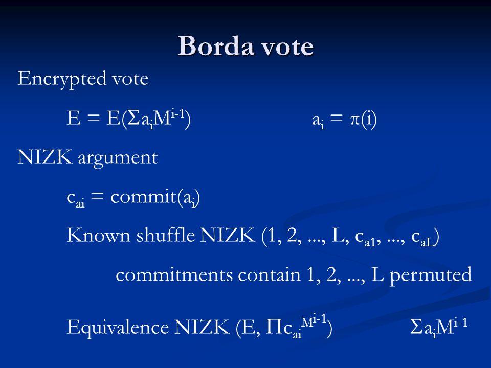 Borda vote Encrypted vote E = E( a i M i-1 )a i = π(i) NIZK argument c ai = commit(a i ) Known shuffle NIZK (1, 2,..., L, c a1,..., c aL ) commitments contain 1, 2,..., L permuted Equivalence NIZK (E, c ai M i-1 ) a i M i-1