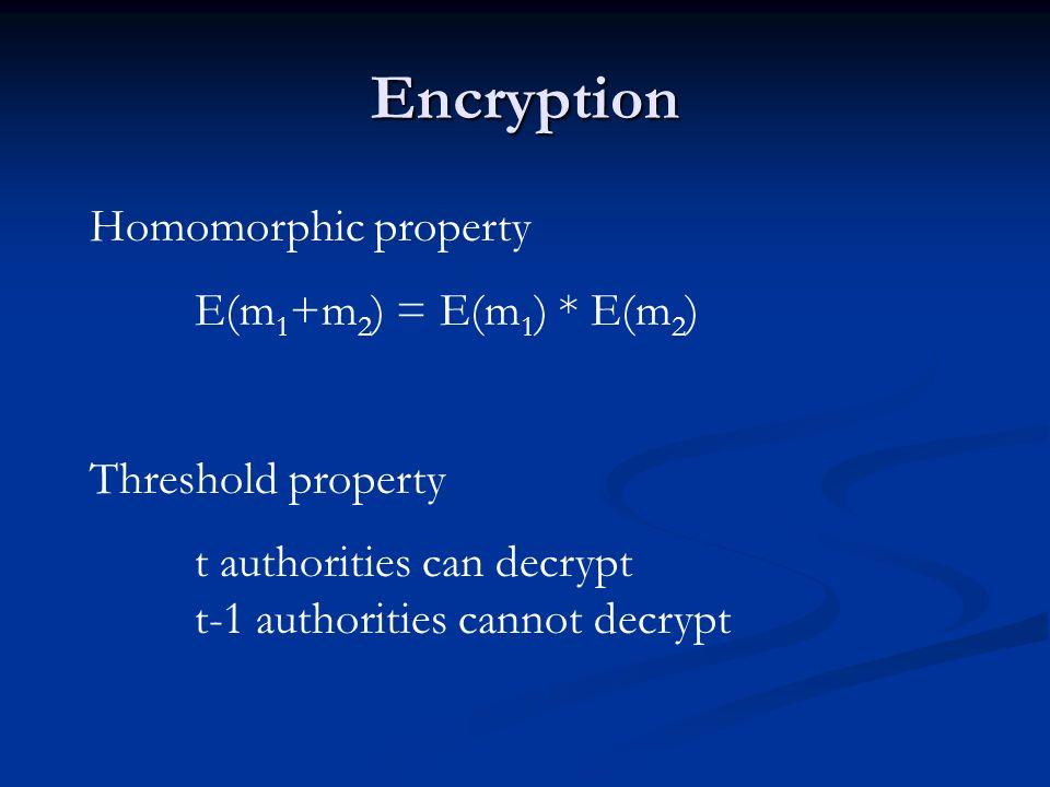 Encryption Homomorphic property E(m 1 +m 2 ) = E(m 1 ) * E(m 2 ) Threshold property t authorities can decrypt t-1 authorities cannot decrypt