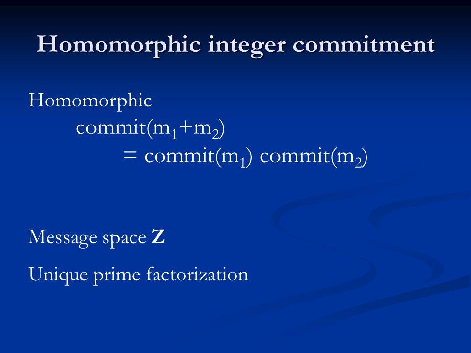Homomorphic integer commitment Homomorphic commit(m 1 +m 2 ) = commit(m 1 ) commit(m 2 ) Message space Z Unique prime factorization