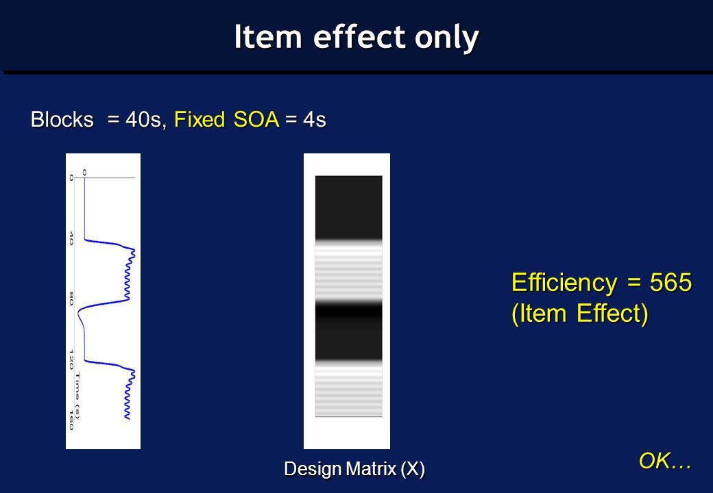 Efficiency = 565 (Item Effect) Design Matrix (X) Blocks = 40s, Fixed SOA = 4s OK… Item effect only