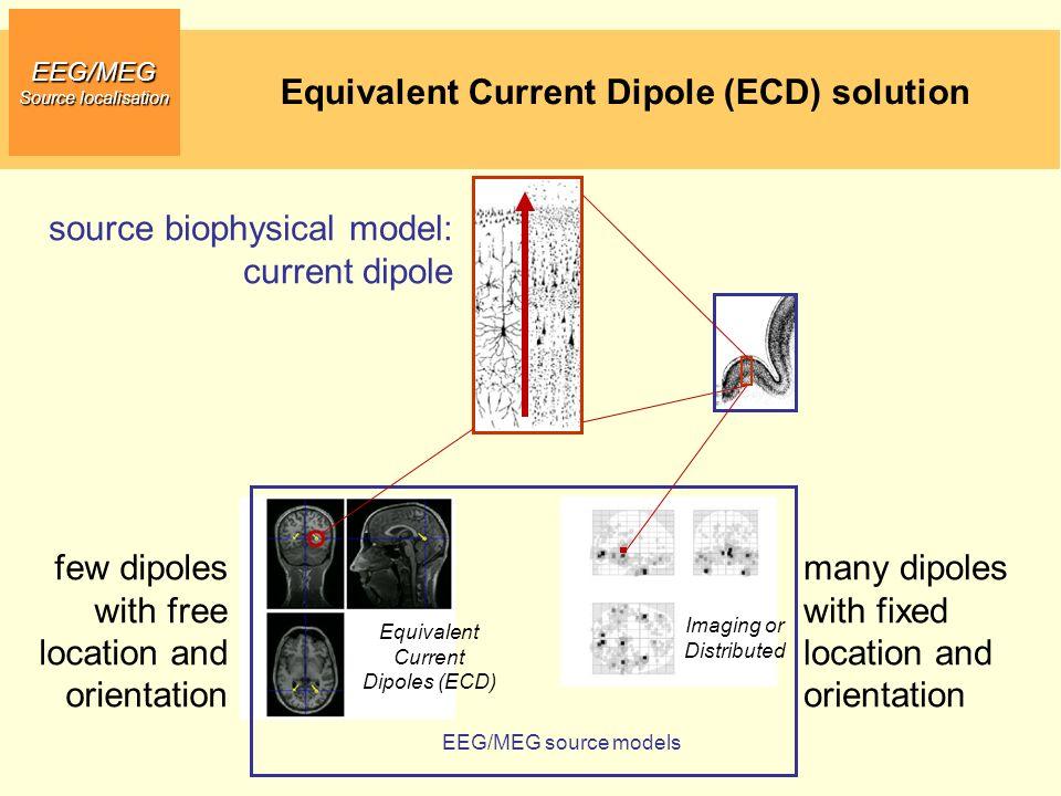 EEG/MEG Source localisation source biophysical model: current dipole EEG/MEG source models Equivalent Current Dipoles (ECD) Imaging or Distributed Equ