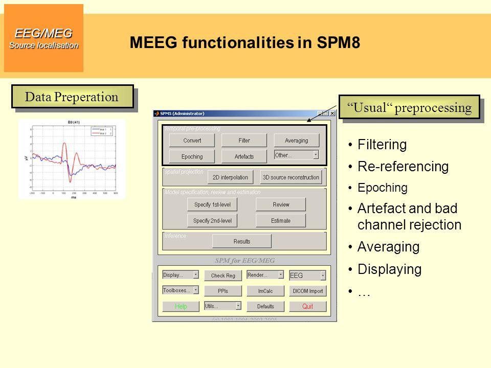 MEEG functionalities in SPM8 EEG/MEG Source localisation Data Preprocessing Scalp Data Analysis Statistical Parametric Mapping Dynamic Causal Modelling Source reconstruction