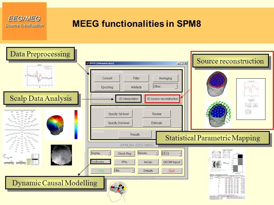 MEEG functionalities in SPM8 EEG/MEG Source localisation Data Preprocessing Scalp Data Analysis Statistical Parametric Mapping Dynamic Causal Modellin