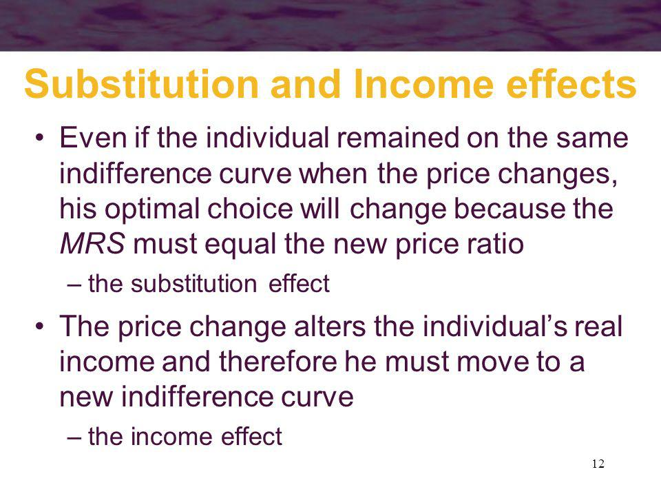12 Substitution and Income effects Even if the individual remained on the same indifference curve when the price changes, his optimal choice will chan