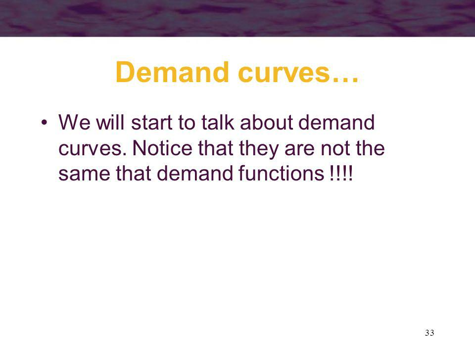 33 Demand curves… We will start to talk about demand curves. Notice that they are not the same that demand functions !!!!