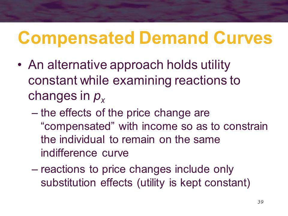 39 Compensated Demand Curves An alternative approach holds utility constant while examining reactions to changes in p x –the effects of the price chan