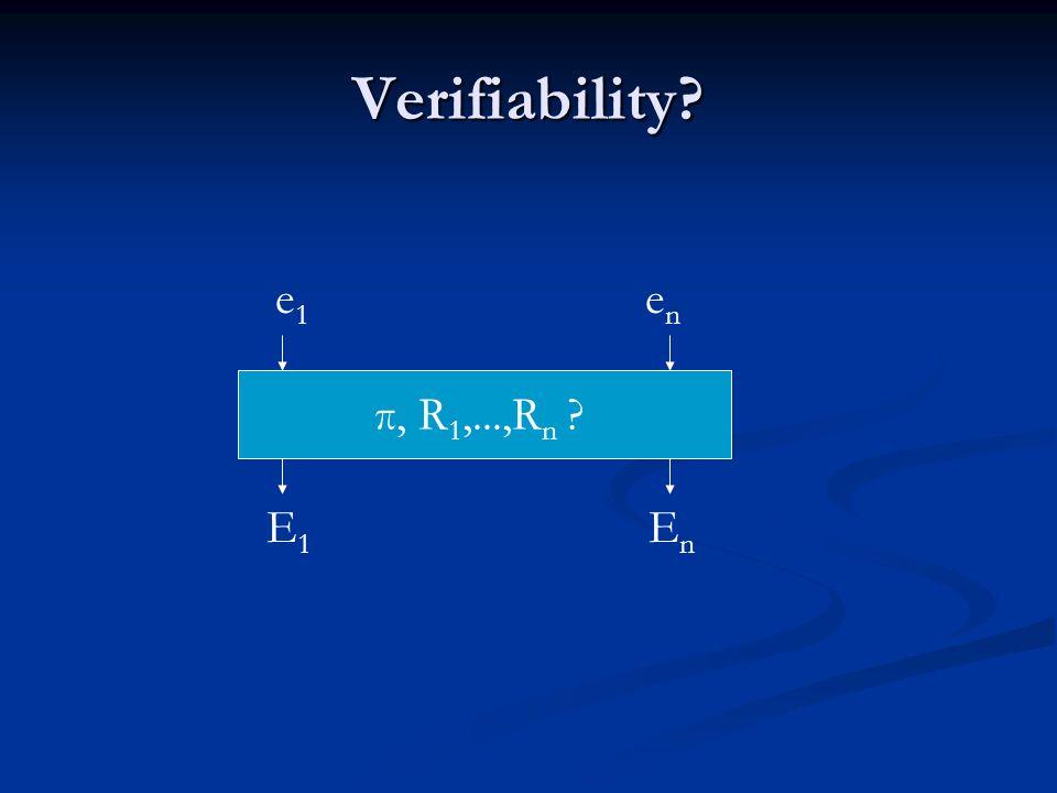 Verifiability π, R 1,...,R n E1E1 E n e1e1 enen
