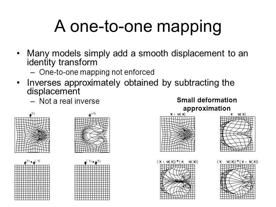 A one-to-one mapping Many models simply add a smooth displacement to an identity transform –One-to-one mapping not enforced Inverses approximately obt