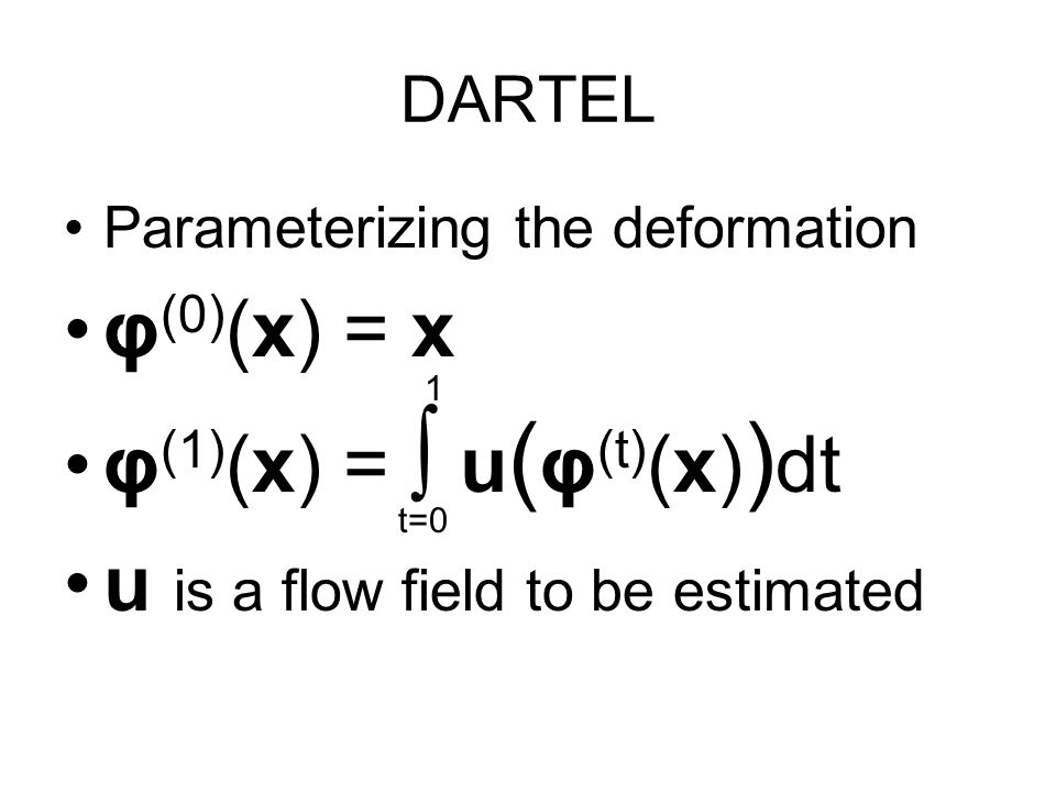 DARTEL Parameterizing the deformation φ (0) (x) = x φ (1) (x) = u ( φ (t) (x) ) dt u is a flow field to be estimated t=0 1