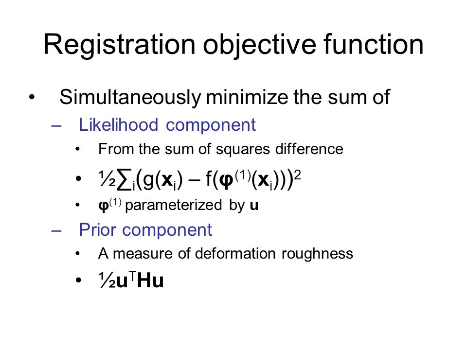 Registration objective function Simultaneously minimize the sum of –Likelihood component From the sum of squares difference ½ i ( g(x i ) – f(φ (1) (x