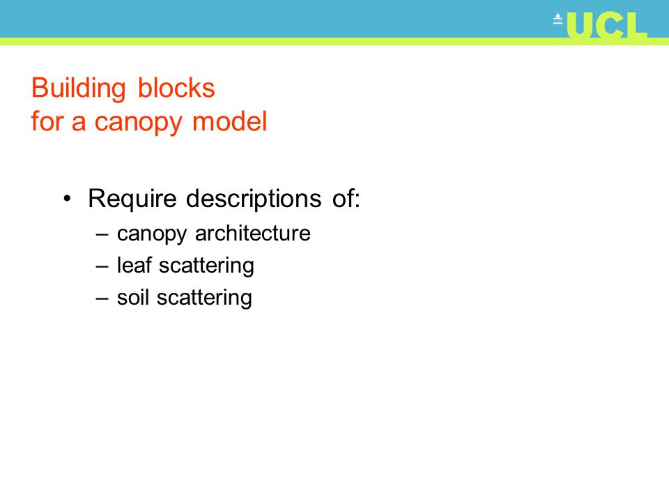 Building blocks for a canopy model Require descriptions of: –canopy architecture –leaf scattering –soil scattering