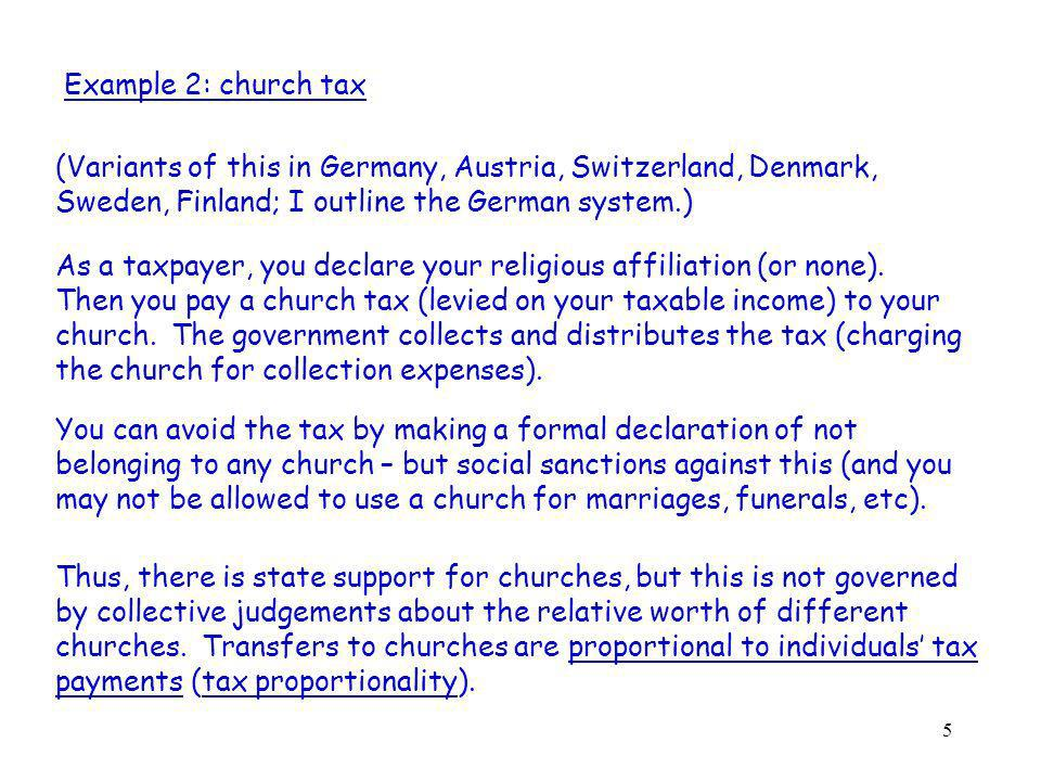 5 Example 2: church tax (Variants of this in Germany, Austria, Switzerland, Denmark, Sweden, Finland; I outline the German system.) As a taxpayer, you declare your religious affiliation (or none).