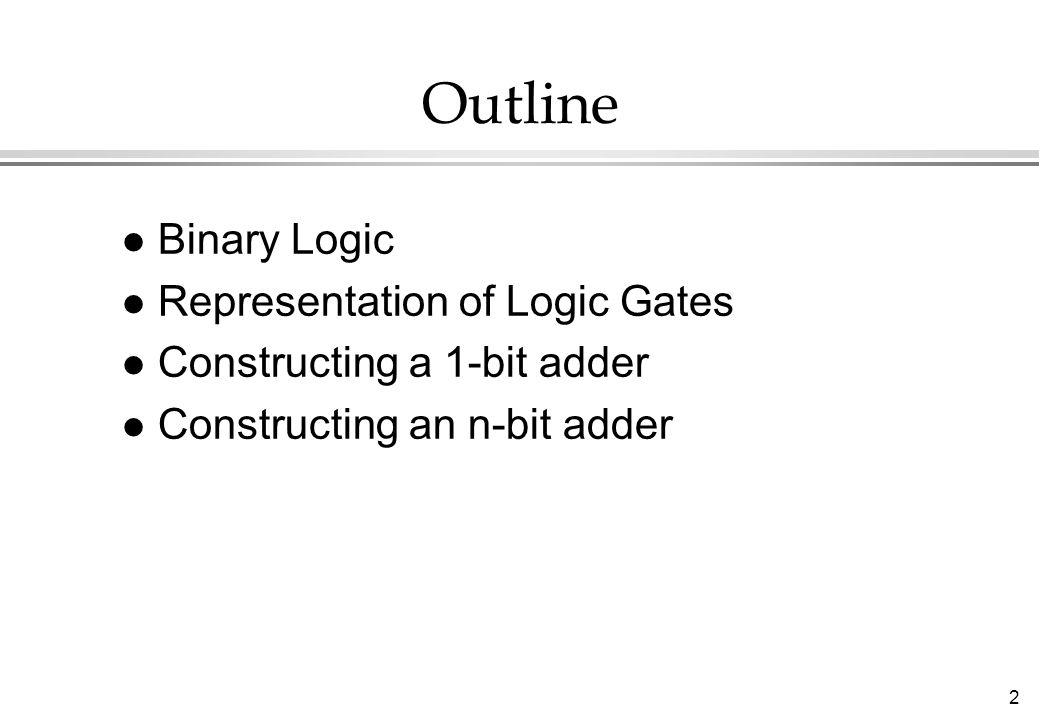 2 Outline l Binary Logic l Representation of Logic Gates l Constructing a 1-bit adder l Constructing an n-bit adder