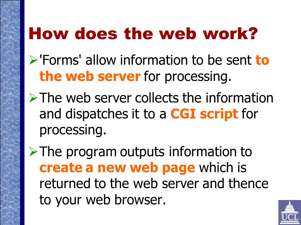How does the web work. Forms allow information to be sent to the web server for processing.