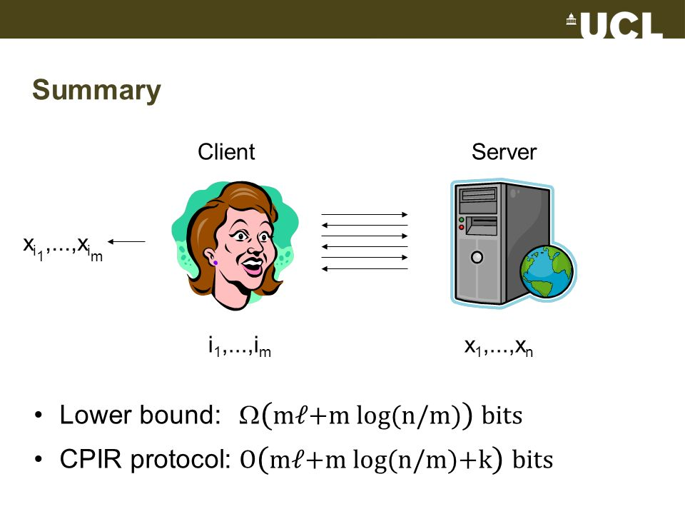 Summary Lower bound: ( m+m log(n/m) ) bits CPIR protocol: O ( m+m log(n/m)+k ) bits ClientServer i 1,...,i m x 1,...,x n x i 1,...,x i m