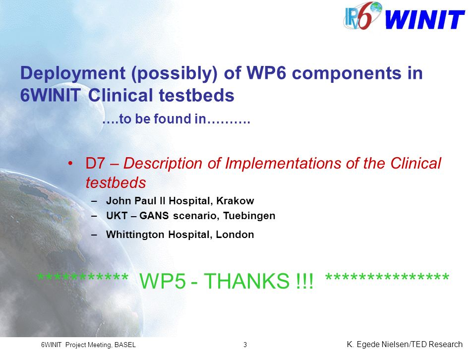 6WINIT Project Meeting, BASEL K.