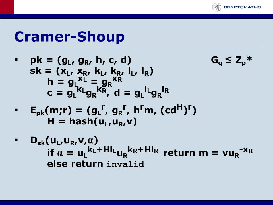 Cramer-Shoup pk = (g L, g R, h, c, d)G q Z p * sk = (x L, x R, k L, k R, l L, l R ) h = g L x L = g R x R c = g L k L g R k R, d = g L l L g R l R E pk (m;r) = (g L r, g R r, h r m, (cd H ) r ) H = hash(u L,u R,v) D sk (u L,u R,v, α ) if α = u L k L +Hl L u R k R +Hl R return m = vu R -x R else return invalid