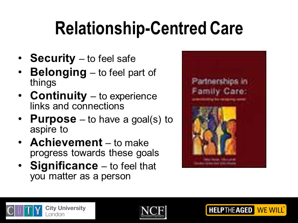 Relationship-Centred Care Security – to feel safe Belonging – to feel part of things Continuity – to experience links and connections Purpose – to hav