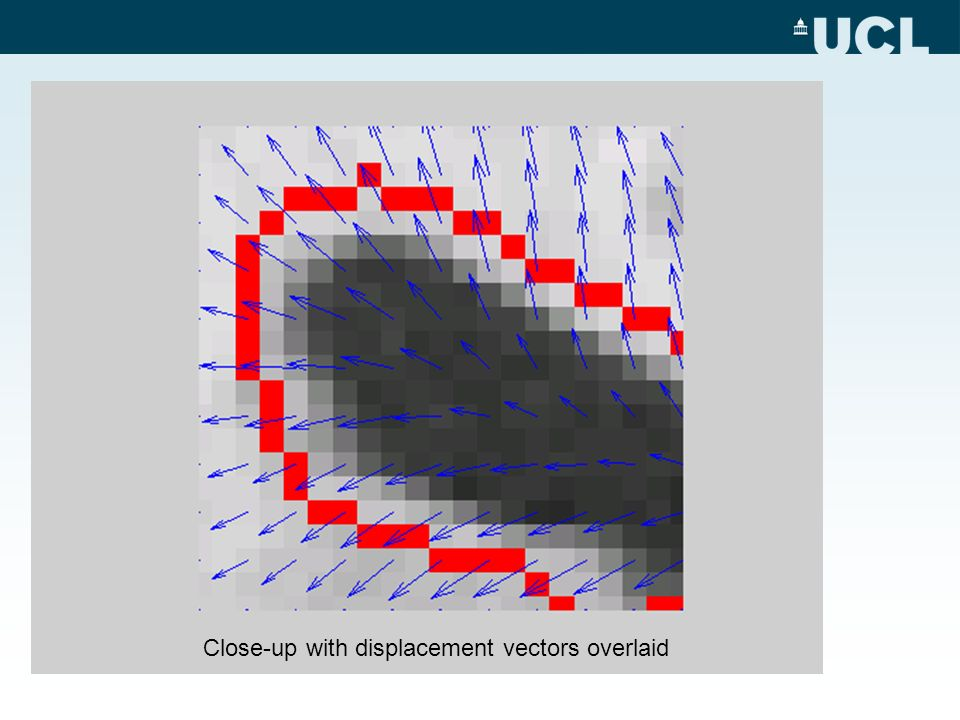 Close-up with displacement vectors overlaid