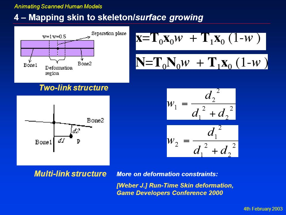 4th February 2003 Animating Scanned Human Models 4 – Mapping skin to skeleton/surface growing Two-link structure Multi-link structure [Weber J.] Run-Time Skin deformation, Game Developers Conference 2000 More on deformation constraints: