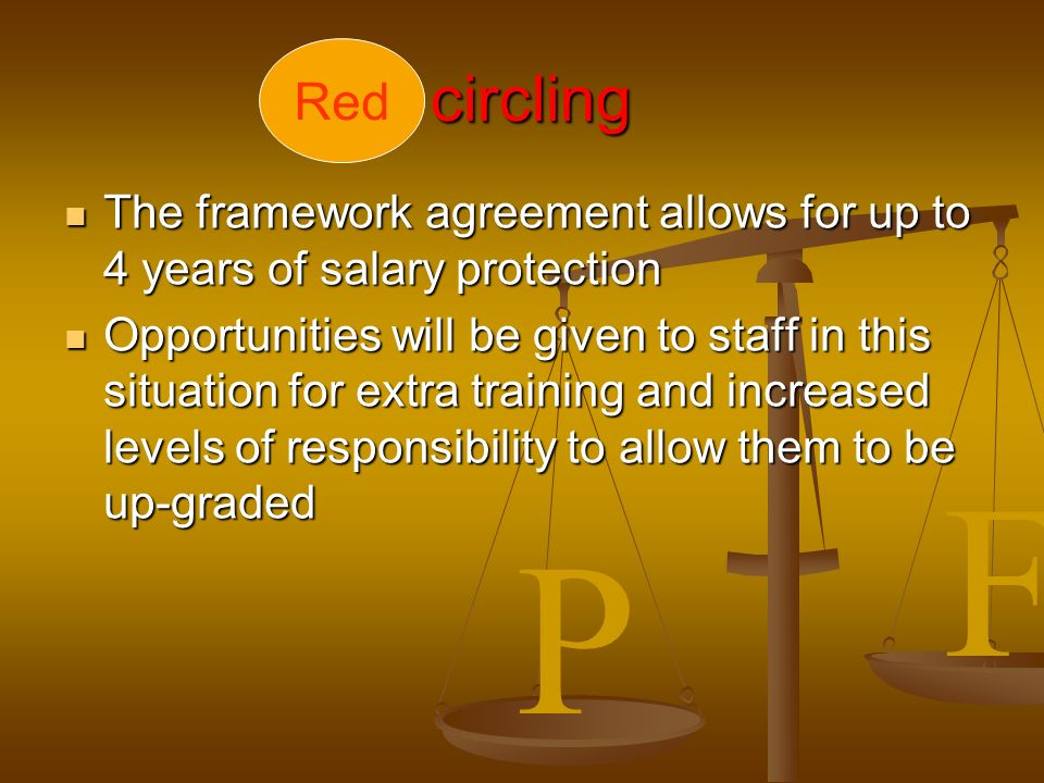P F circling circling The framework agreement allows for up to 4 years of salary protection The framework agreement allows for up to 4 years of salary protection Opportunities will be given to staff in this situation for extra training and increased levels of responsibility to allow them to be up-graded Opportunities will be given to staff in this situation for extra training and increased levels of responsibility to allow them to be up-graded Red