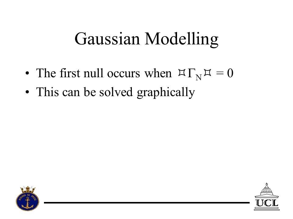 Gaussian Modelling The first null occurs when N = 0 This can be solved graphically