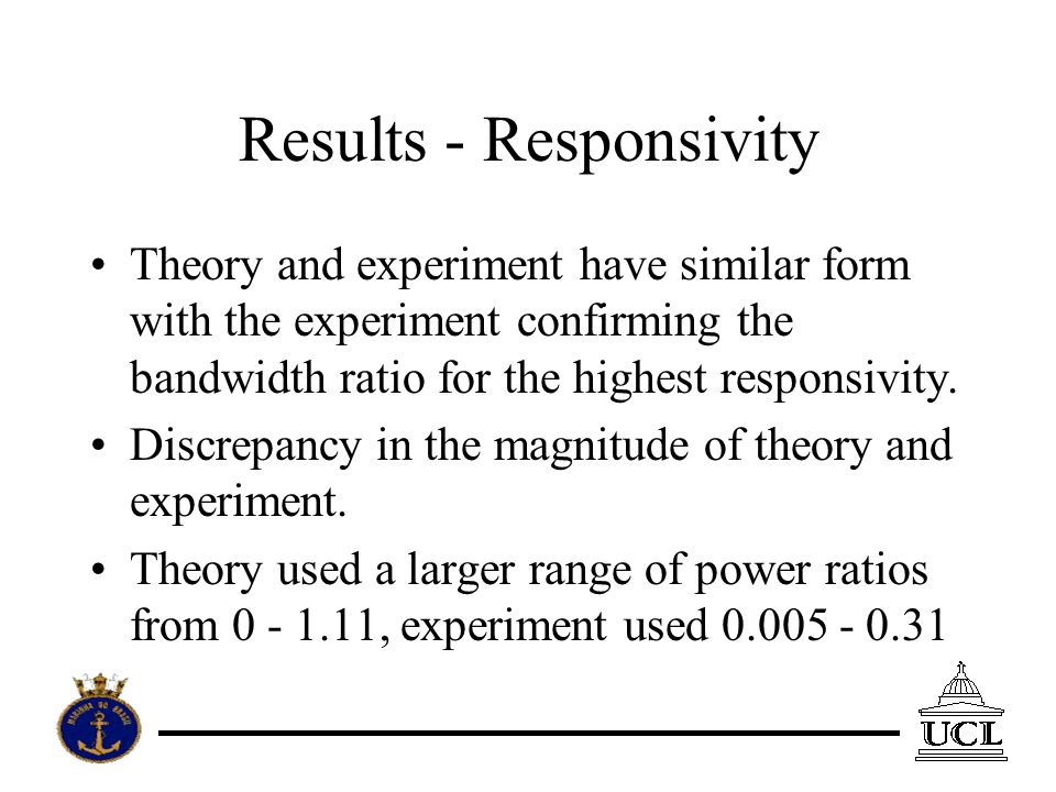 Theory and experiment have similar form with the experiment confirming the bandwidth ratio for the highest responsivity.
