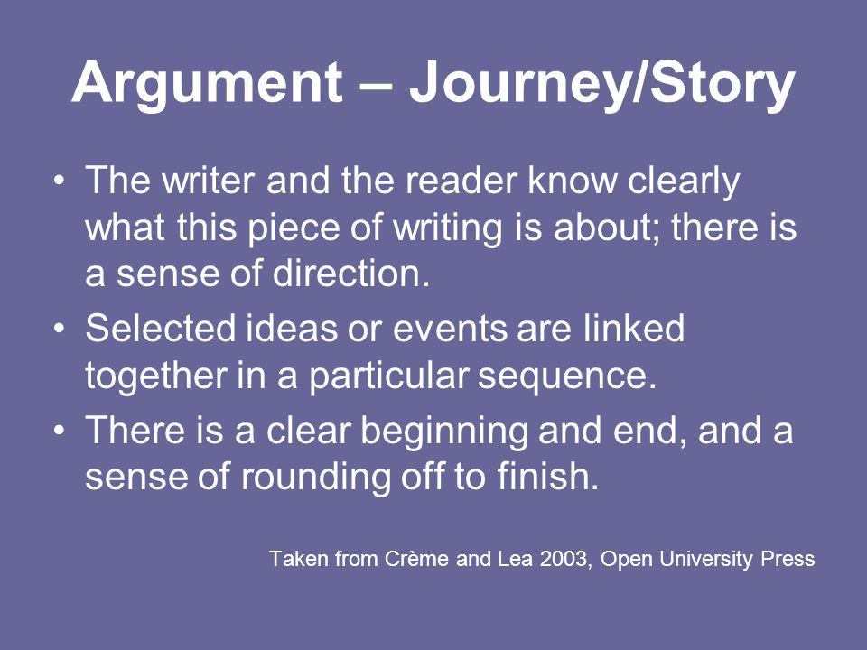 Argument – Journey/Story The writer and the reader know clearly what this piece of writing is about; there is a sense of direction. Selected ideas or