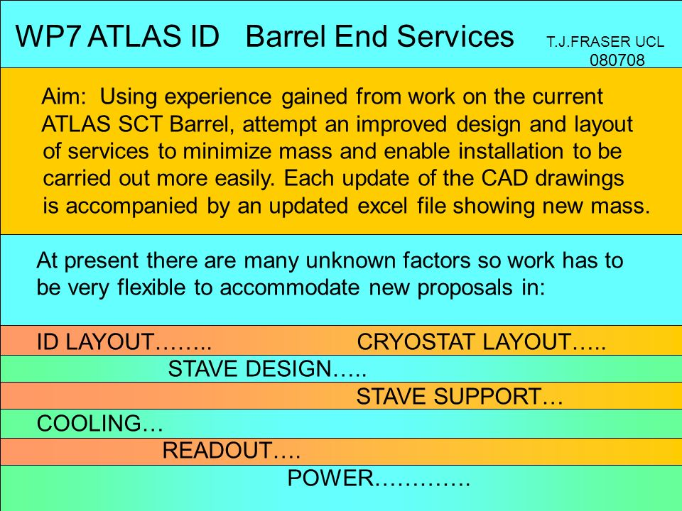 WP7 ATLAS ID Barrel End Services T.J.FRASER UCL Aim: Using experience gained from work on the current ATLAS SCT Barrel, attempt an improved design and layout of services to minimize mass and enable installation to be carried out more easily.