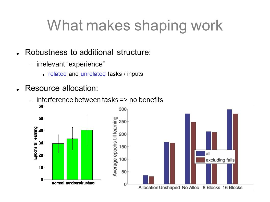 What makes shaping work Robustness to additional structure: irrelevant experience related and unrelated tasks / inputs Resource allocation: interferen