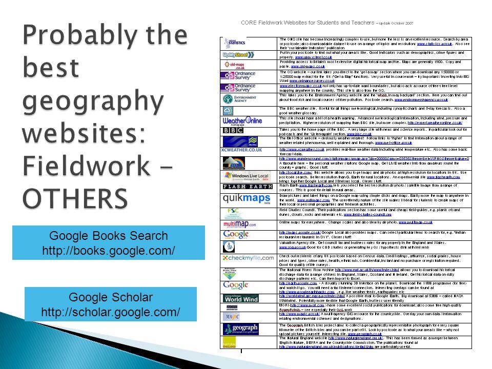 Google Books Search http://books.google.com/ Google Scholar http://scholar.google.com/