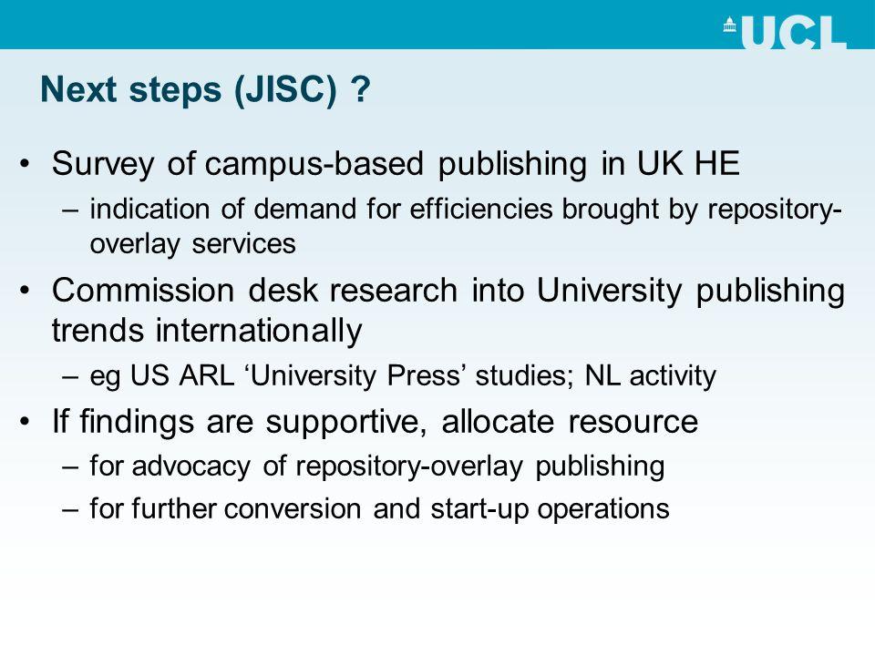 Next steps (JISC) .