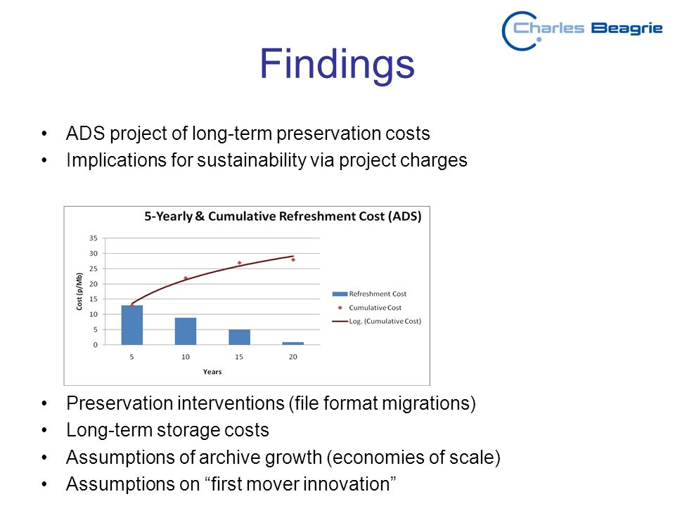 Findings ADS project of long-term preservation costs Implications for sustainability via project charges Preservation interventions (file format migrations) Long-term storage costs Assumptions of archive growth (economies of scale) Assumptions on first mover innovation