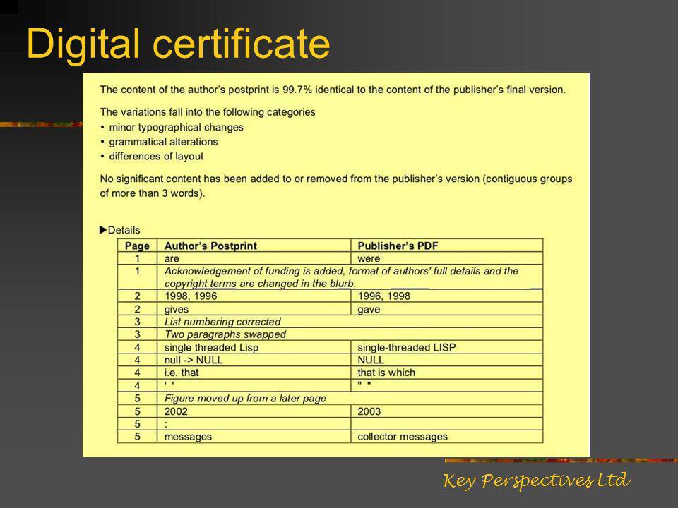 Digital certificate Key Perspectives Ltd