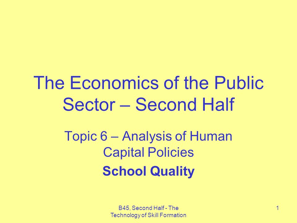 B45, Second Half - The Technology of Skill Formation 22 Only if we take very high-end estimates of the effect of schooling quality on earnings and discount costs by a very low rate do we find any sizeable positive effect of schooling quality on future earnings.