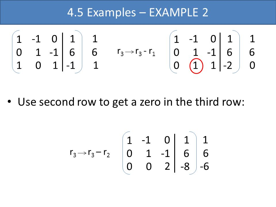 Use second row to get a zero in the third row: r 3 r 3 – r 2 2 1 0 0 0 1 0 1 6 -8 1 6 -6 4.5 Examples – EXAMPLE 2 r 3 r 3 - r 1 1 1 0 1 0 1 0 1 6 1 6