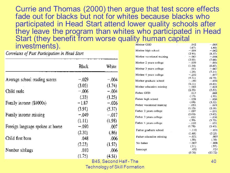 B45, Second Half - The Technology of Skill Formation 40 Currie and Thomas (2000) then argue that test score effects fade out for blacks but not for whites because blacks who participated in Head Start attend lower quality schools after they leave the program than whites who participated in Head Start (they benefit from worse quality human capital investments).