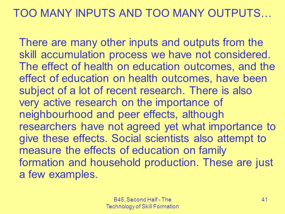 B45, Second Half - The Technology of Skill Formation 41 TOO MANY INPUTS AND TOO MANY OUTPUTS… There are many other inputs and outputs from the skill accumulation process we have not considered.