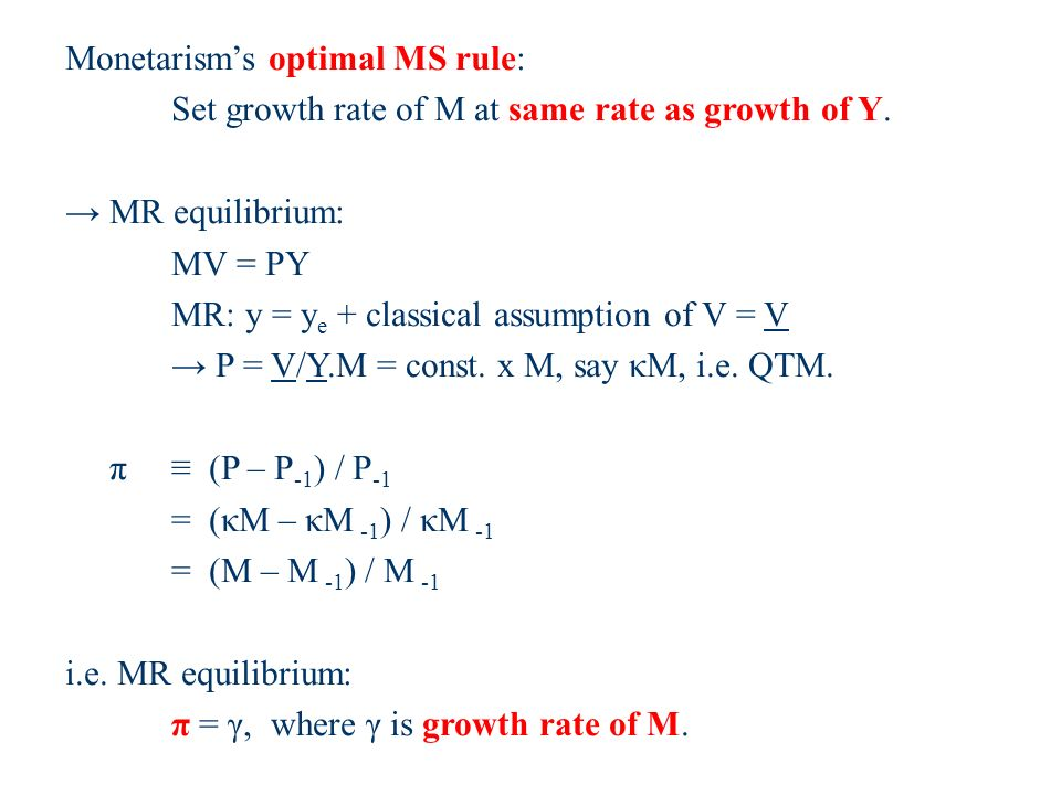Monetarisms optimal MS rule: Set growth rate of M at same rate as growth of Y.