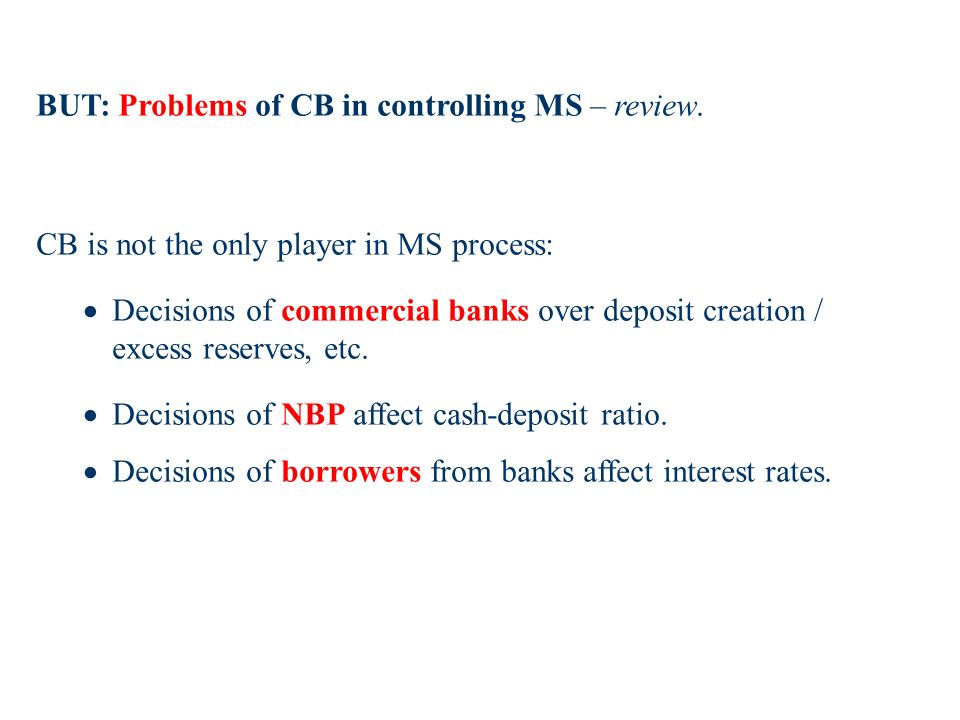 BUT: Problems of CB in controlling MS – review.