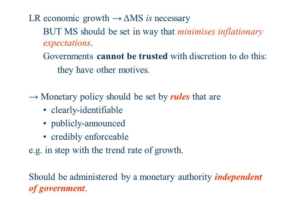 LR economic growth ΔMS is necessary BUT MS should be set in way that minimises inflationary expectations.