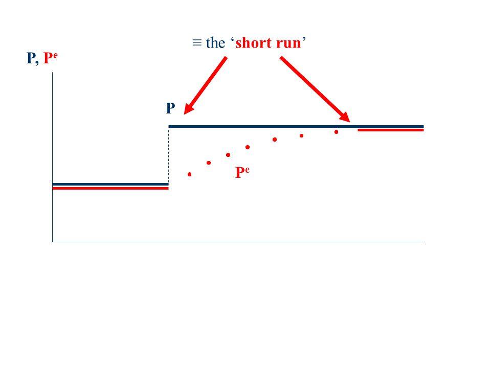P, P e PePe P the short run